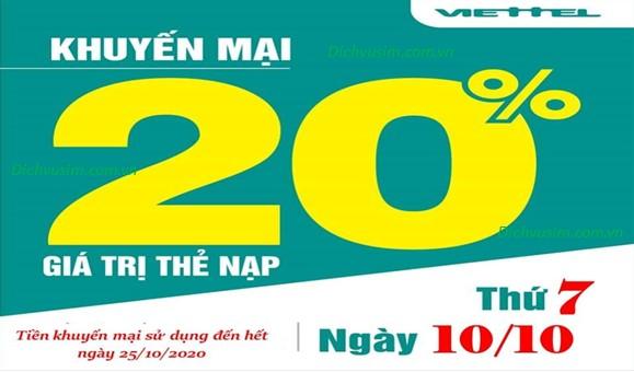 Khuyến mãi Viettel tặng 20% ngày 10/10/2020