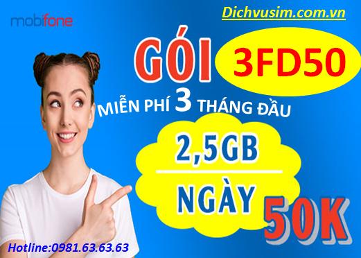 CỰC HOT GÓI 3FD50 MOBIFONE CÓ NGAY 225GB DATA/3 THÁNG